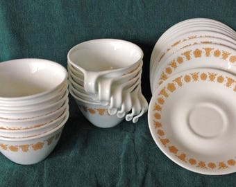 12 Corelle Butterfly Gold Cups & Saucers