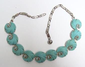 Fun And Fancy Aqua And Rhinestone Vintage Necklace