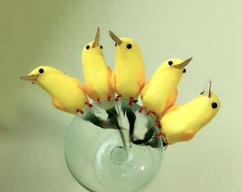 12 Pieces Colourful Birds with  yellow  feathers. Code: B03