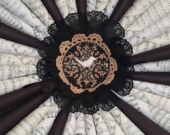 Song bird sheet music wreath