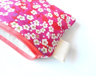 free shiping,Liberty of London zipper pouch , Japanese style cherry blossom , coin purse , pouch wallet ,coin clutch , phone monney wallet