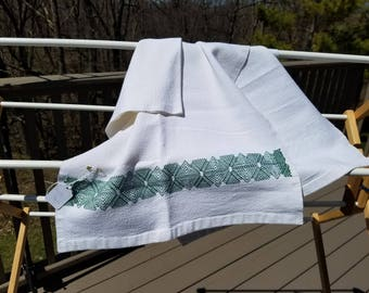 Swedish Weaving White with Green accent Table Runner