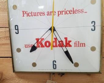 1962 Kodak Film Wall Clock by PAM Clock Co., Vintage, Good Working Condition