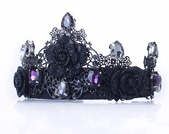 Black Crown,evil queen crown, black tiara,black fascinator, baroque crown, black wedding dress, black headpiece, purple crown, baroque tiara