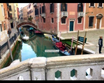 "14""x11"" Photo Print: Gondola in Venice"