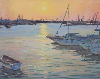 Oil landscape PLEIN AIR Sunset in the bay Original painting IMPRESSIONISM Seascape Yachts in the bay Fine art Oil on canvas by A. Onipchenko