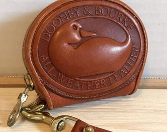Dooney And Bourke Tan Leather Coin Purse Big Duck Rare