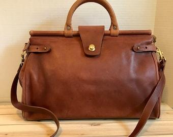 COACH Large Rare Vintage Tan Leather Satchel Bag // Doctor Bag // Large Bag Made in USA