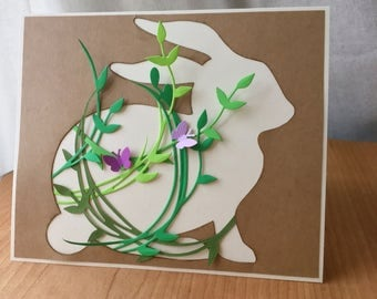 Spring Card - Bunny Cutout with Greenery and Butterflies