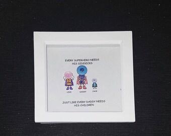Personalised dad superhero button frame