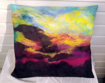 Wool decorative felted pillowcase.