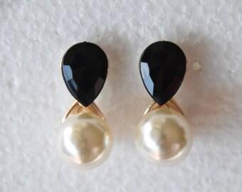 Vintage Earrings Pearl Gemstone Earrings
