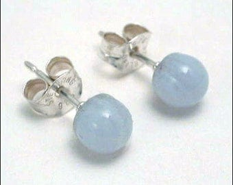 Blue Lace Agate 5mm Round Studs Earrings - Sterling Silver
