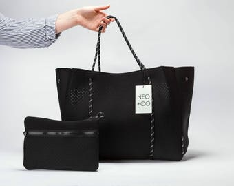 Neo and Co, Perforated Neoprene Handbag and Clutch