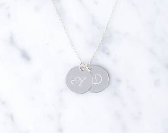 Double initial necklace made of 925 Silver writing cursive script