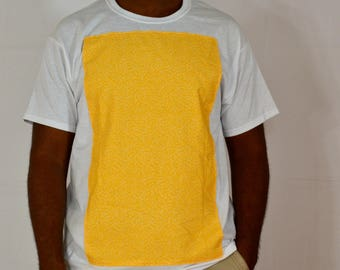 White Tee with yellow fabric design in front