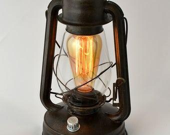 Electric handmade lantern Vintage Hurricane Lantern Desk lamp Handmade lighting Dimmer order