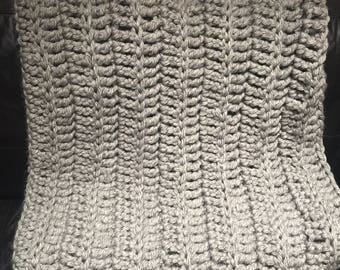 Crochet Cable Knit Heavyweight Blanket