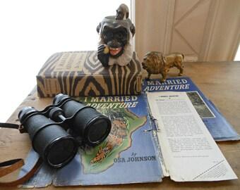 Vintage Safari Gift Set - I Married Adventure, Monkey Shaving Mug, Lion Bank, Vintage Binoculars