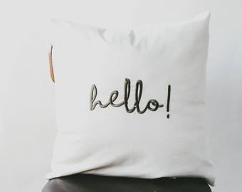 Hello Embroidered Pillow Cover ... Throw Pillow, Accent Pillow, Entryway Pillow, Bedroom Pillow, Home Decor