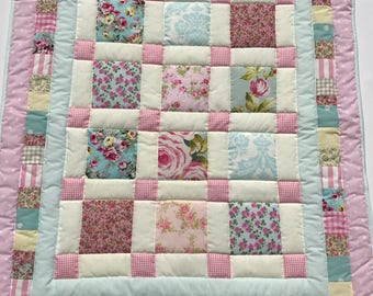 baby quilt, baby blanket, handmade quilt, cot quilt, baby shower, christening, birthday, pink, blue, free shipping