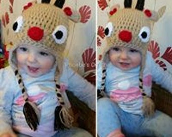 Crocheted reindeer / rudolph hat