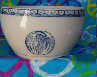 Vintage Asian Blue &White Crane Stoneware/Ironstone Serving Bowl. Hand made and painted.