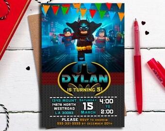 Lego Batman invitation, Batman Party, Lego Batman birthday invitation, Batman card, Batman Printables,Lego invitation, printable