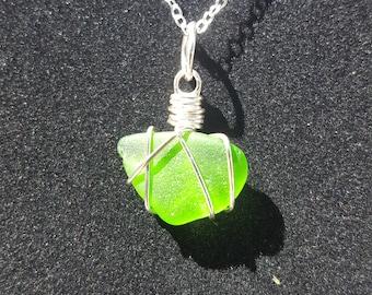 Vibrant Green Sea Glass Pendant