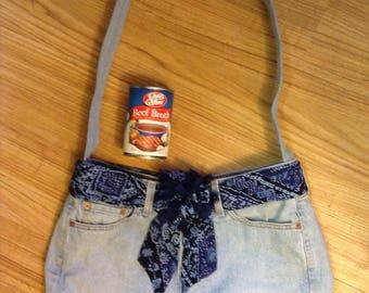 Blue on blue Levi's repurposed upscaled purse handbag hobo