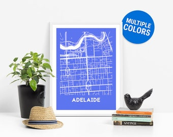 Adelaide Full Color Map Print | Adelaide Australia Map | Adelaide Art