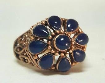 Antiqued Gold Blue Lapis cluster ring, multi stone, filigree sides, large ladies ring