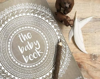 Boho Tribal Baby Book journal keepsake natural