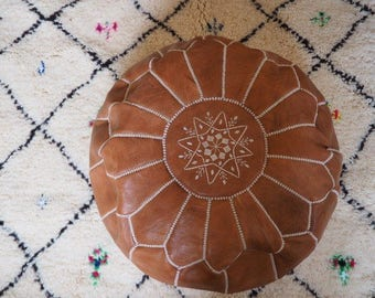 Handmade Tan Leather Pouf - Int'l Express shipping - Unfilled