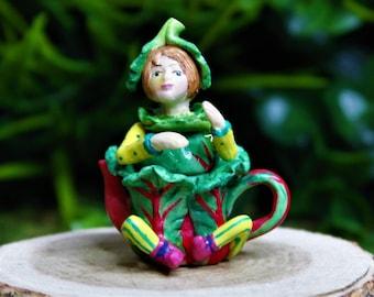 Miniature Fairy Swiss Chard Pixie Teapot, Tiny Fairy Figurine 1:12 Scale, Dollhouse Decoration, DIY Charm Pendant Jewelry Supplies