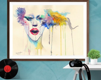 Abstract  Watercolor face Wall Art  Print Canvas / Matt