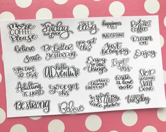 MORE COFFEE PLEASE - Planner Stickers / Hand Lettering Quotes Stickers / Happy Planner Stickers / Erin Condred / Mini Happy Planner Stickers