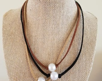 Choice of black, tan, or brown suede necklace with pearl
