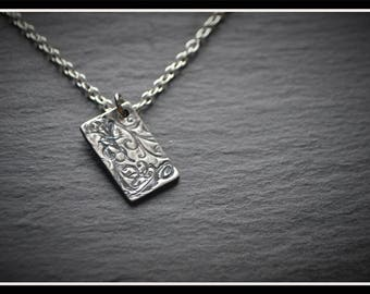 Engraved Rectangle Pendant - Silver Precious Metal Clay (PMC), Handmade, Necklace - (Product Code: ACM029-17)