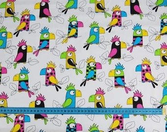 PARROT Fabric, Cotton Fabric, Fabric by the Yard, Quilt Fabric, 100% Cotton, Bedding Fabric, BIRDS PARROT Fabric, Nursery, Crafts, Bedding