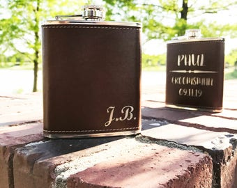 ON SALE-Personalized Flask-Leather Flask-Groomsman Gift-Groomsman Gift Idea-Wedding Accessory-Party Favor-Birthday Gift