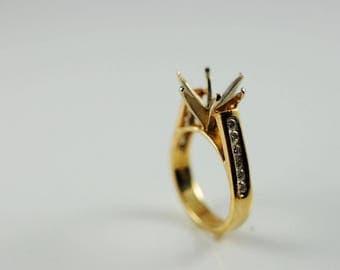 Stunning 14k Yellow Gold Diamond Semi-Mount Engagement Ring .30 Carat