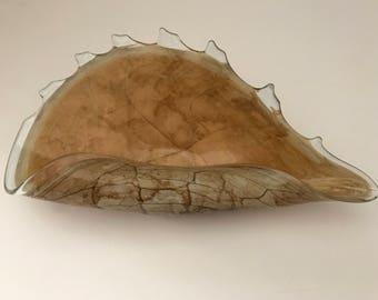 Glass Shell Art Made in Poland Centerpiece Bowl