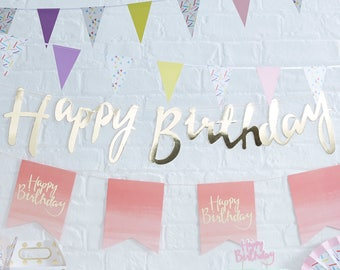 Gold Happy Birthday Banner, Gold Birthday Bunting, Gold Birthday Party Decorations