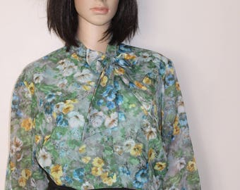 Shirt Lee T 40 / 42 liberty chiffon Pearl gray, blue and yellow Vintage in excellent condition