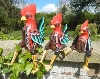 Wooden Chicken Carving - Sitting Shelf Sitter Chicken Ornament - Chicken 32cm