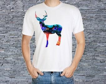 Men's art t-shirt - Deer Tee - Printed - T-shirt - Proud Deer Shirt