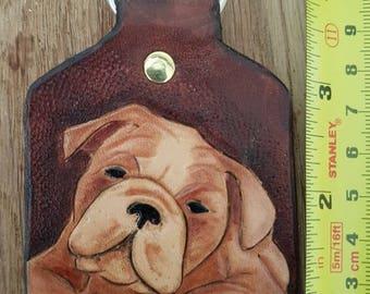 Handmade leather Bulldog keyring