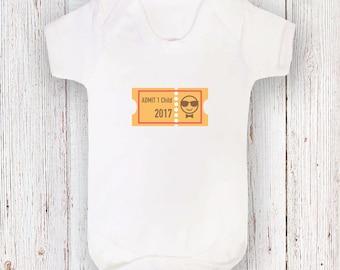 Pregnancy Announcement - Admit 1 Child 2017 White Short Sleeved Bodysuit
