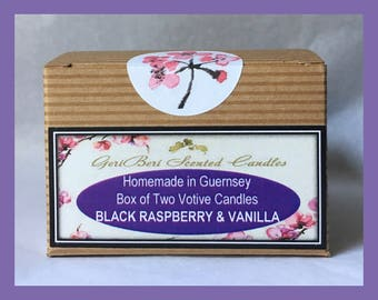 Black Raspberry & Vanilla Box of TWO Votive Candles
